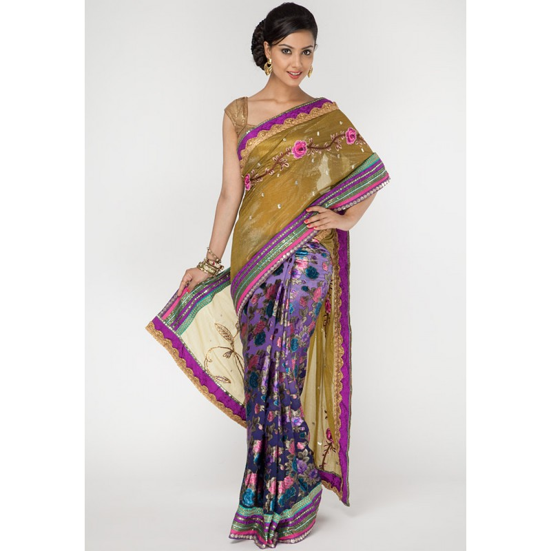d282641ab4fe4b Ambica Embroidered Georgette Multi Colored Designer Saree Online ...