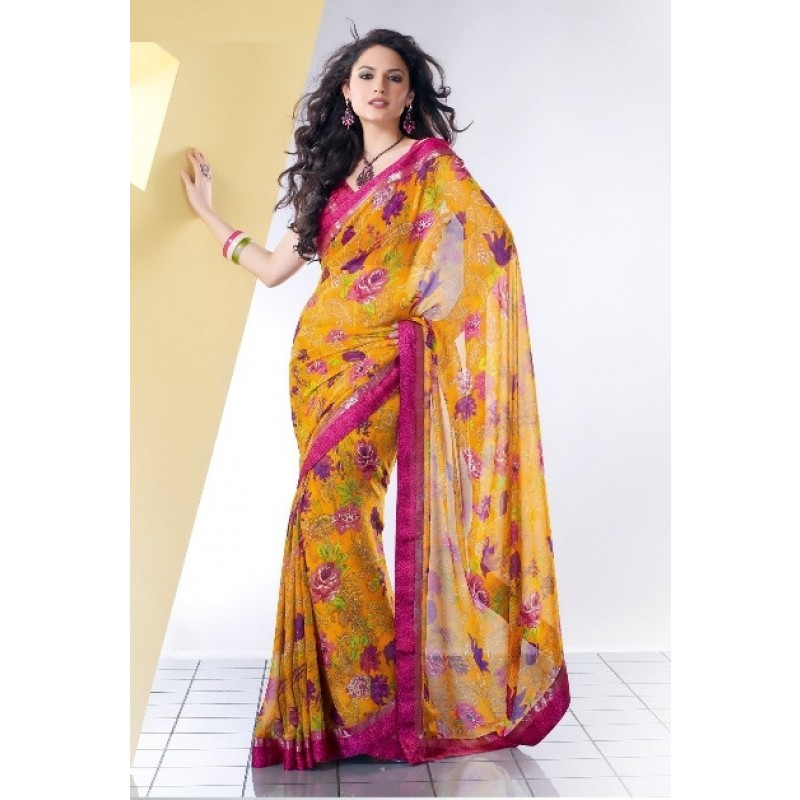 Yellow Colour Georgette Casual Sarees Online Shopping