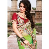 Green & Red  Net Designer Sarees