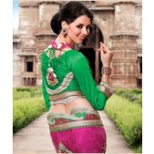 Rose with green Designer Sarees With Net material