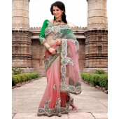 Apricot with Green Designer Sarees Net material