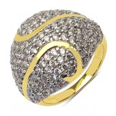 5.80 Grams White Cubic Zirconia Gold Plated Brass Ring