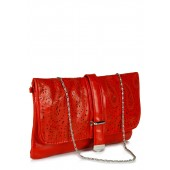 Red coloured, faux leather clutch for women from Aadaana.