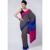Aalya Printed Crepe Black Saree