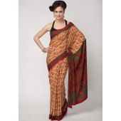 Aalya Printed Crepe Maroon Saree