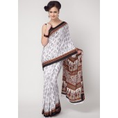 Aalya Printed Crepe White Saree