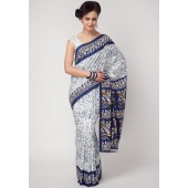 Aalya Printed Crepe White/blue Saree
