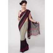 Aalya Printed Georgette Grey Saree