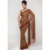 Aalya Self Printed Crepe Multi Colored Saree
