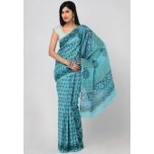 Aapno Rajasthan Printed Cotton Blue Saree