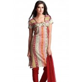 Red coloured Salwar Kameez suit set.