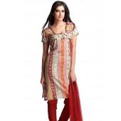 Red coloured Salwar Kameez suit set.
