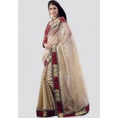 Adaa Embroidered Beige Saree