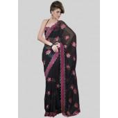 Adaa Embroidered Black Saree - Mksp