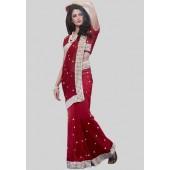 Adaa Embroidered Maroon Saree - Mksp