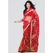 Adaa Embroidered Red Saree - Mksp