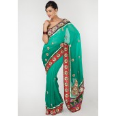 Aesha Classy Heavy Embroided Georgette Green Saree