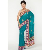 Aesha Elegant Heavy Embroided Georgette Blue Saree
