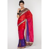 Aesha Radiant Heavy Embroided Georgette Maroon Saree