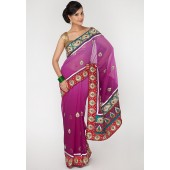 Aesha Stunning Heavy Embroided Georgette Purple Saree