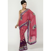 Ambica Embroidered Shimmer Chiffon & Net Purple Saree