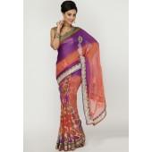 Ambica Fancy Border Embroidered Georgette Multi Colored Saree