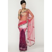 Ambica Heavy Embroidered Net & Brasso Multi Colored Saree