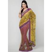Ambica Heavy Embroidered Net & Brasso Multi Colored Saree