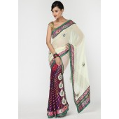 Ambica Heavy Embroidered Shimmer & Chiffon Multi Colored Saree