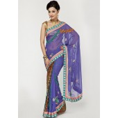 Ambica Velvet Patch Georgette Multi Colored Designer Saree