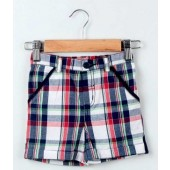 Beebay Red Color Twill Tape Checkered Shorts For Kids