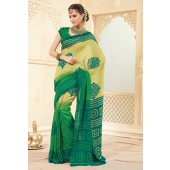 Beige and Green colour Royal Silk Casual Sarees