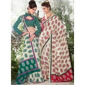 Bhagalpuri Silk Cadmium green & Cadmium Red  Casual Saree