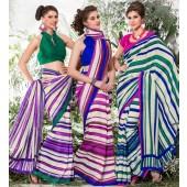Bhagalpuri Silk Cadmium greeni & Cadmium Red  Casual Saree