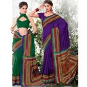 Bhagalpuri Silk  Green & Blue Casual Saree
