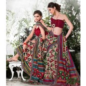 Bhagalpuri Silk Khakhi & Boston University Red Casual Saree