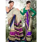 Bhagalpuri Silk Light Khakhi & Blue purple  Casual Saree