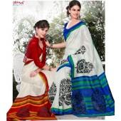 Bhagalpuri Silk Red & White Casual Saree