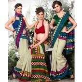 Bhagalpuri Silk Blue & Purple Colour Casual Saree
