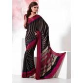 Black colour Crepe Material Saree