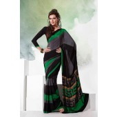 Black & Green colour Crepe Material Saree for Casual Wear