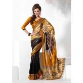 Black & Mustard Yellow colour Resham Patta Material Saree