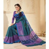 Blue and Purple colour Peacock Silk Casual Sarees