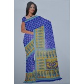 Blue colour and light Green Bombay Cotton Material Sarees