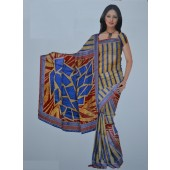 Blue colour Bombay Cotton Material Sarees for Office Wear