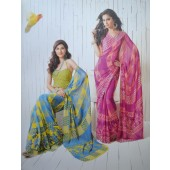 Blue & Yellow colour Georgette Casual Sarees