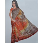 Bombay Cotton Grey & Orange Colour Casual Saree