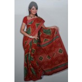 Bombay Cotton Sarees for office wear  with Red &Green