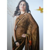 Brown colour Georgette Casual Sarees