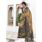 Chiffon Blue and Yellow colour Designer Sarees